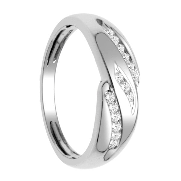 14Kt White Gold Mens Diamond Wedding Band With 1/5 Carat Tw Of Diamonds