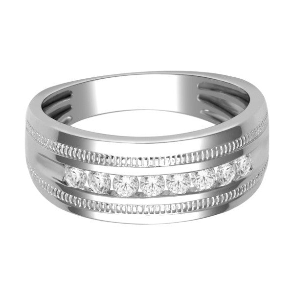 18Kt White Gold Mens Diamond Wedding Band With 1/2 Carat Tw Of Diamonds
