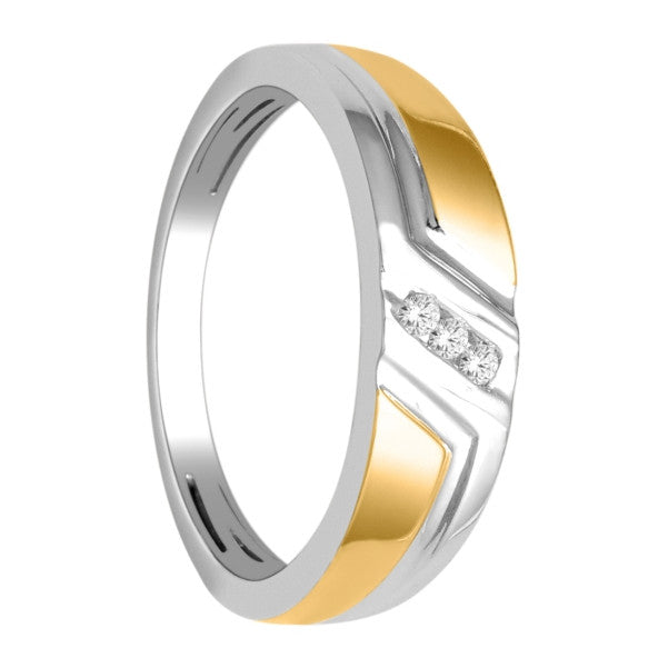 14Kt White/Yellow Gold Mens Diamond Wedding Band With 1/10 Carat Tw Of Diamonds