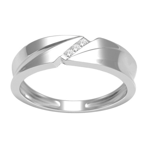 BUY 14KT WHITE GOLD MENS DIAMOND WEDDING BAND WITH 1/20 CARAT TW OF DIAMON  ONLINE U2013 Karbon White