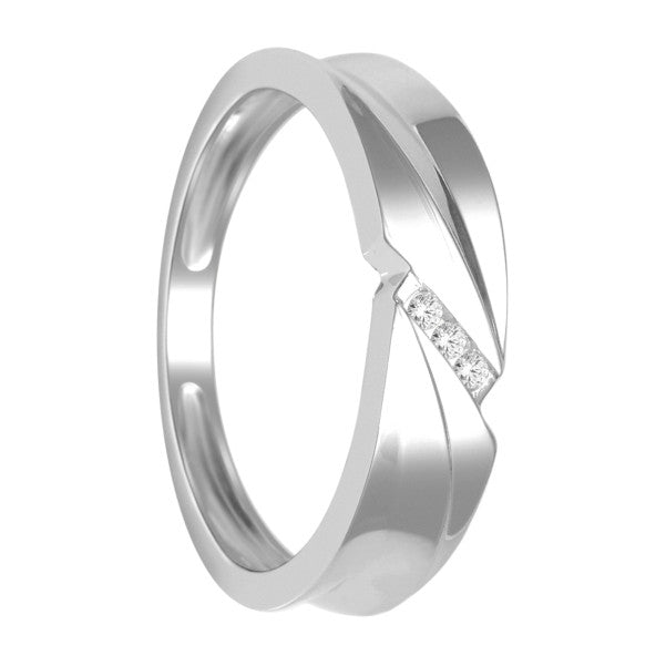 14Kt White Gold Mens Diamond Wedding Band With 1/20 Carat Tw Of Diamonds