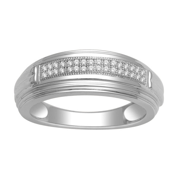 14Kt White Gold Mens Diamond Wedding Band With 1/10 Carat Tw Of Diamonds