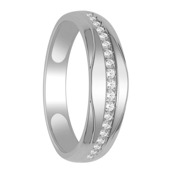 14Kt White Gold Mens Diamond Wedding Band With 1/3 Carat Tw Of Diamonds