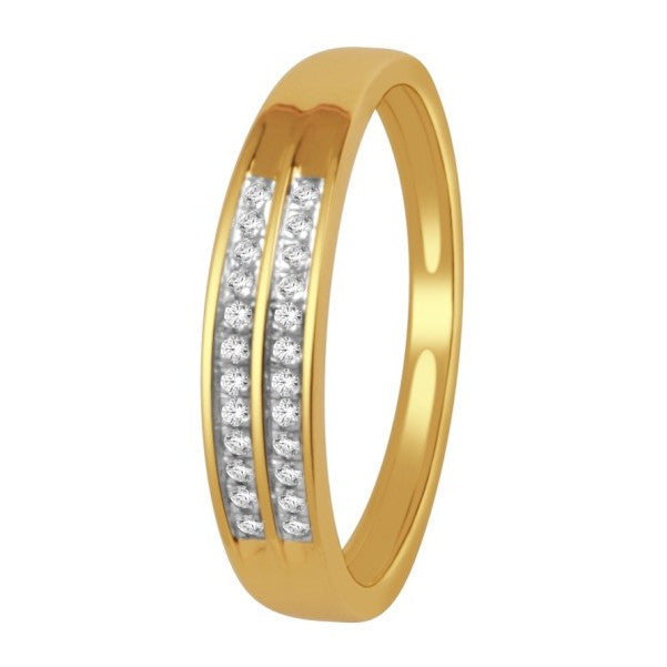 14Kt Yellow Gold Mens Diamond Wedding Band With 1/8 Carat Tw Of Diamonds
