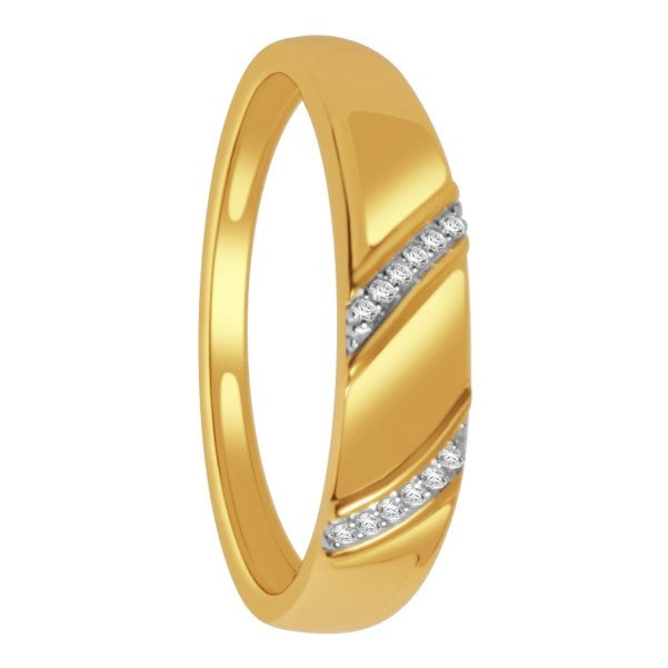 14Kt Yellow Gold Mens Diamond Wedding Band With 1/20 Carat Tw Of Diamonds