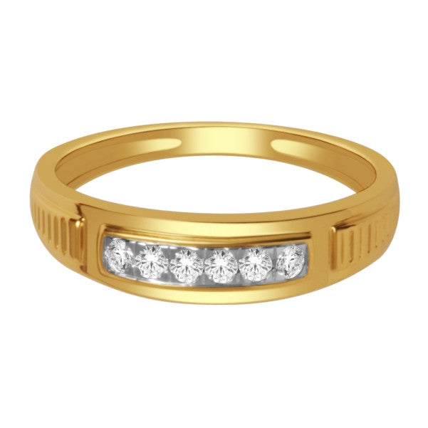 14Kt Yellow Gold Mens Diamond Wedding Band With 1/5 Carat Tw Of Diamonds