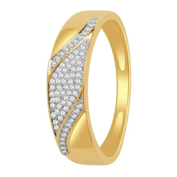 14Kt Yellow Gold Mens Diamond Wedding Band With 1/6 Carat Tw Of Diamonds