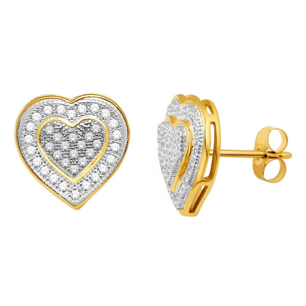 Cluster Stud Earrings With 1/4 Carat Tw Diamonds In 14Kt Yellow Gold