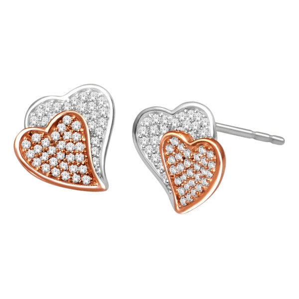 Cluster Stud Earrings With 1/3 Carat Tw Diamonds In 14Kt White/Rose Gold
