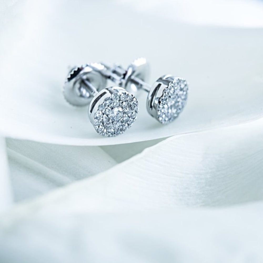 Cluster Stud Earrings With 0.30 Carat Tw Diamonds In 14Kt White Gold