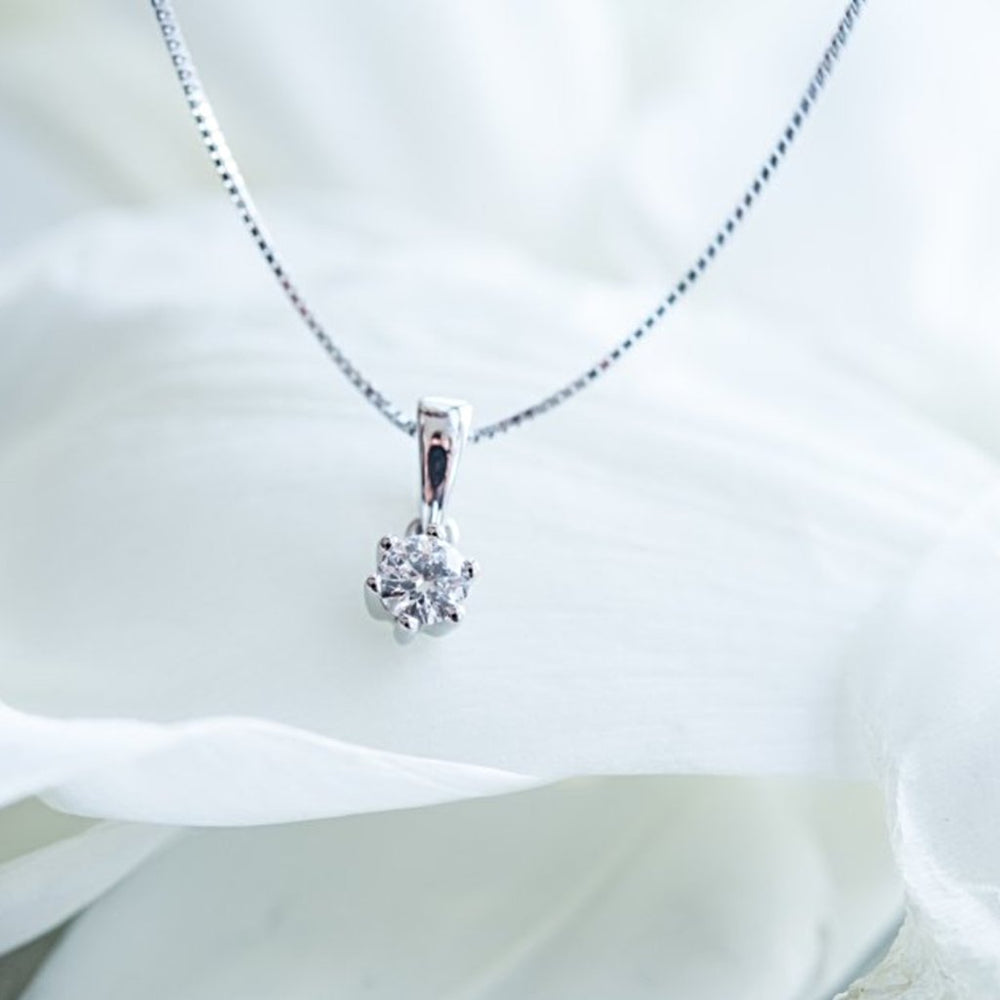14Kt White Gold Single Diamond Pendant With 3/8 Carat Tw Of Diamonds