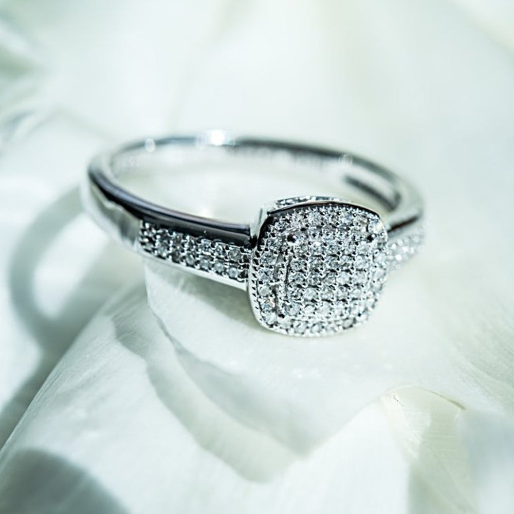 Engagement Ring With 0.17 Carat Tw Of Diamonds In 14Kt White Gold