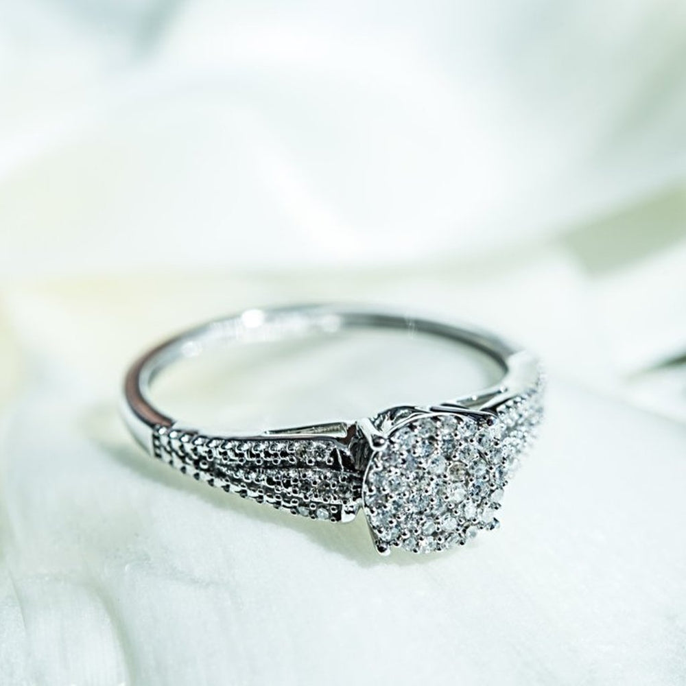 Engagement Ring With 1/8 Carat Tw Of Diamonds In 14Kt White Gold