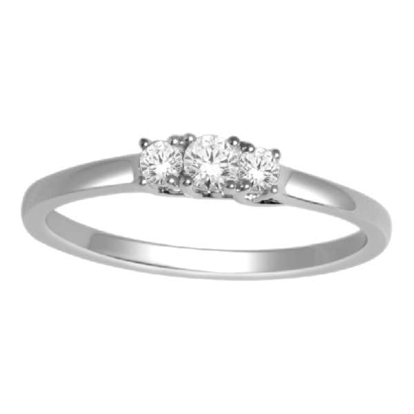 Three Stone Engagement Ring With 1/4 Carat Tw Of Diamonds In 14Kt White Gold