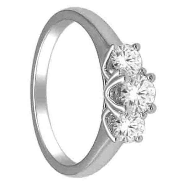 Three Stone Engagement Ring With 3/4 Carat Tw Of Diamonds In 14Kt White Gold