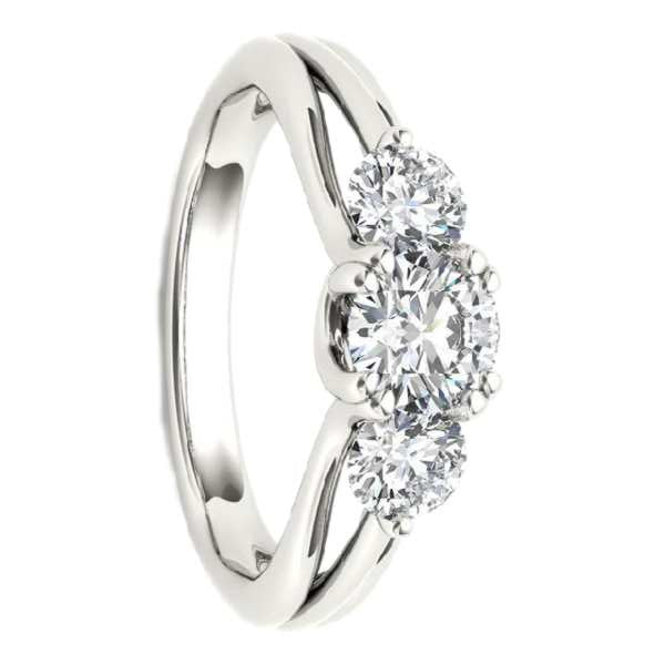 Three Stone Engagement Ring With  1 Carat Tw Of Diamonds In 18Kt White Gold