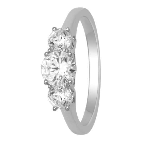 Three Stone Engagement Ring With 1 1/4 Carat Tw Of Diamonds In 18Kt White Gold
