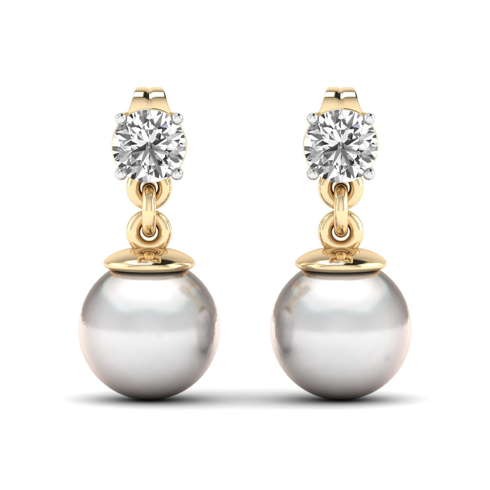 Freshwater Cultured Pearl and Diamond Earrings with 1/3 ct Total Diamond Weight