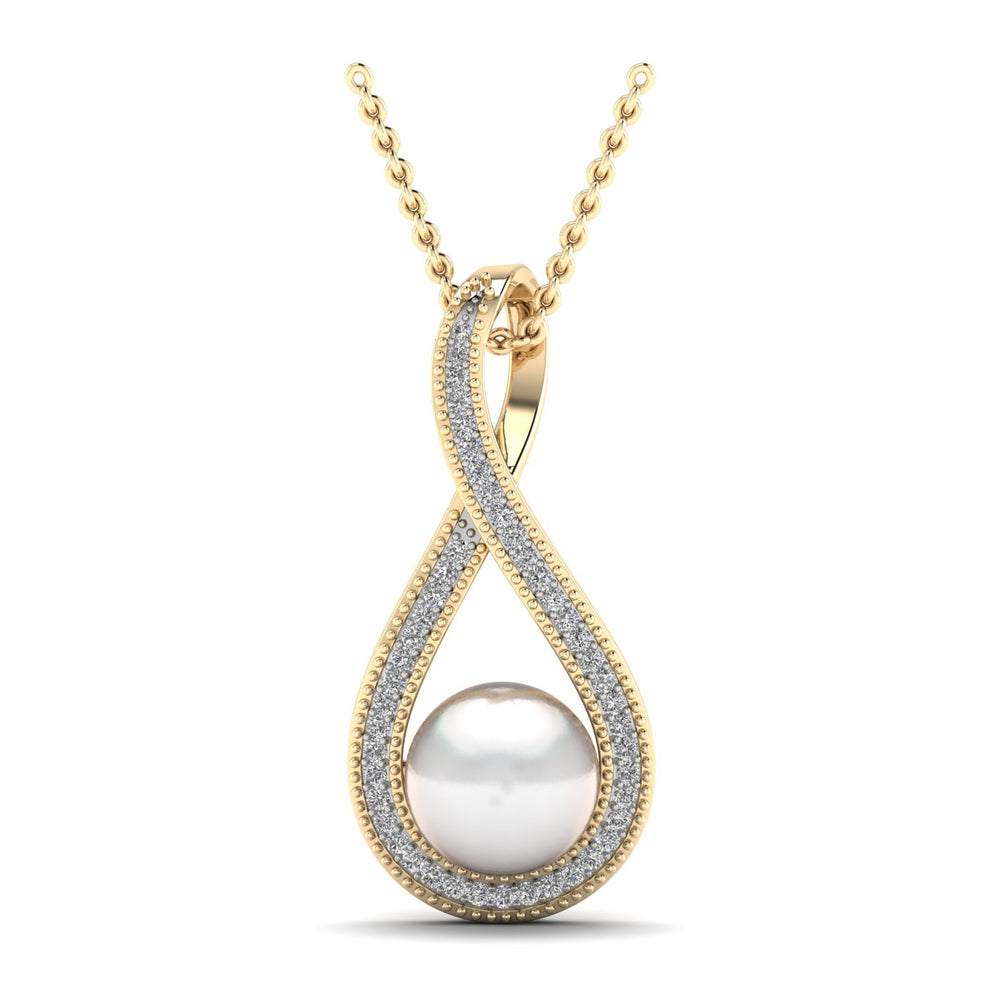 Freshwater Cultured Pearl and Diamond Pendant with 0.13 ct Total Diamond Weight