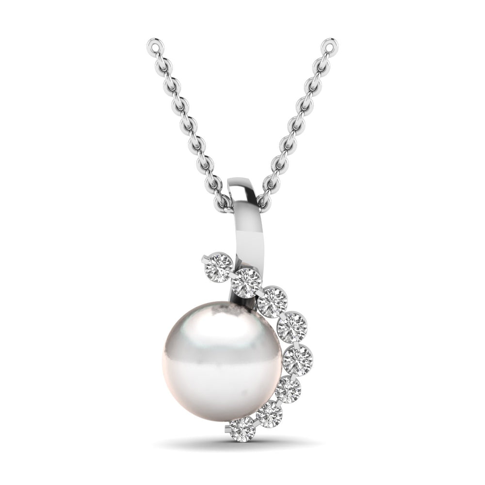 Freshwater Cultured Pearl and Diamond Pendant with 1/10 ct Total Diamond Weight