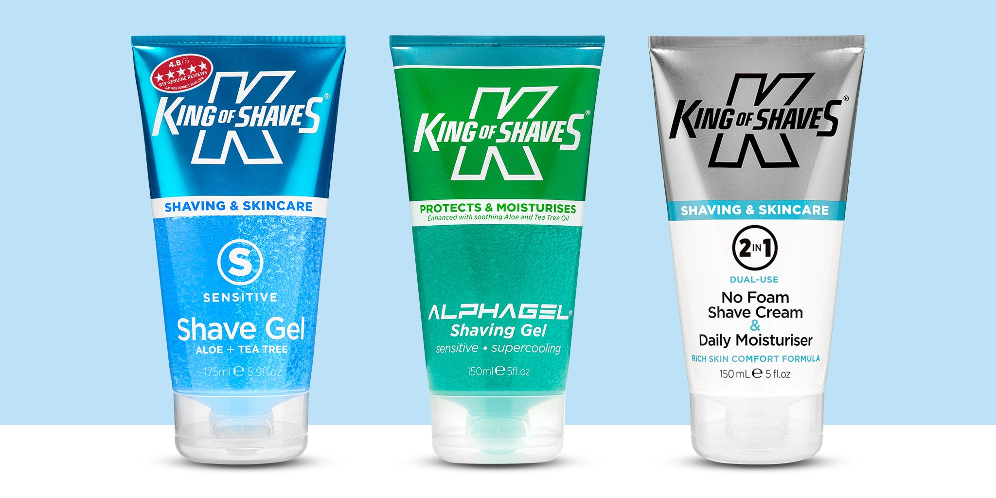 King of Shaves Shaving Gel and Cream Range