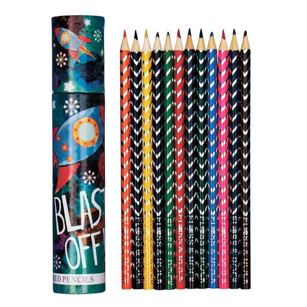 Coloured Pencils Pack 12 in Tube Rocket