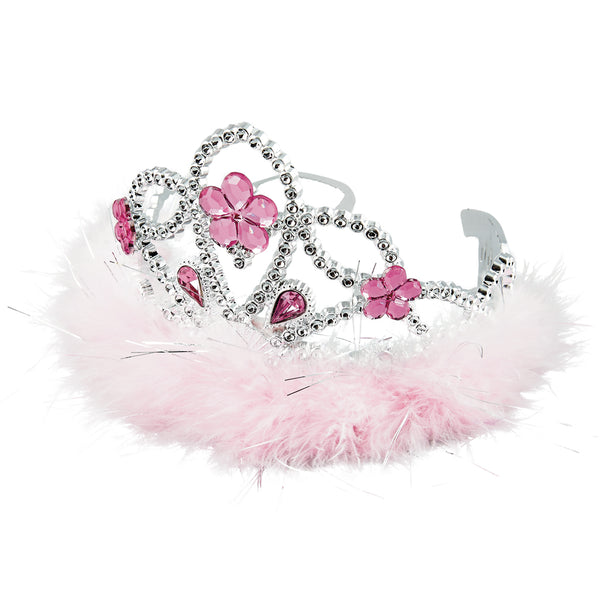 Dress Up Flower Jewel and Feather Tiara