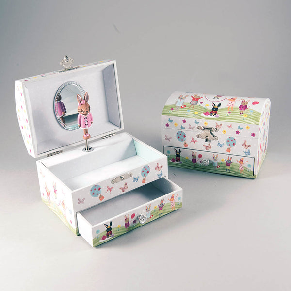 * NEW * Musical Jewellery Box Bunny Dome Shaped