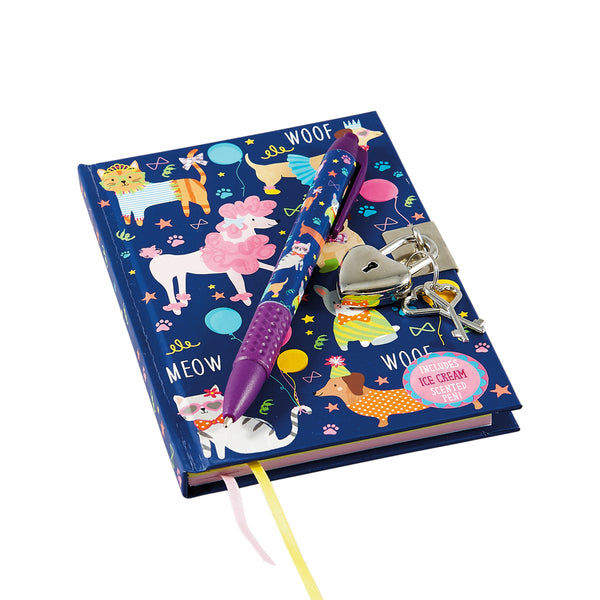 Lockable Notebook with Scented Pen Pets