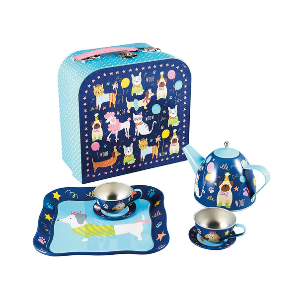Tea Set Tin 7pc Pets