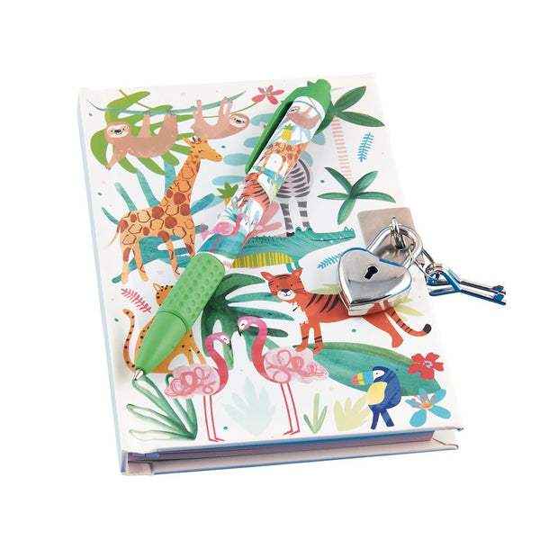 Jungle Lockable Notebook with Watermelon Scented Pen
