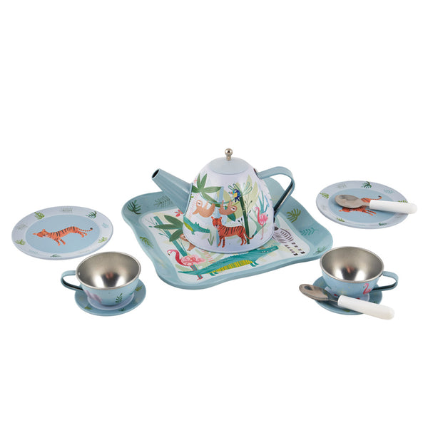 * NEW * Jungle Tea set 11pc Tin in House Case