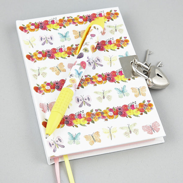 Lockable Diary Notebook with Scented Pen Butterflies