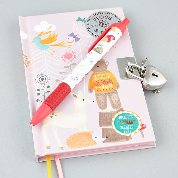 Secret Diaries and Pens - * NEW * Lockable Diary with Scented Pen Woodland Animals - Floss and Rock
