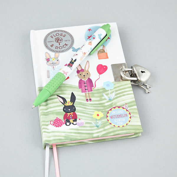 Lockable Diary with Scented Pen Bunny Rabbit