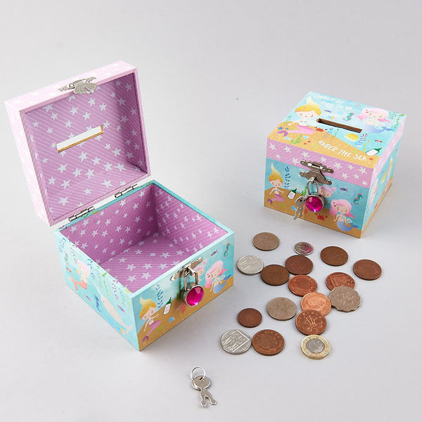 Money Box Square with Diamond Lock Mermaid