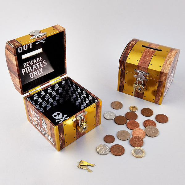 * NEW * Money Box Dome with Gold Round Lock Pirate