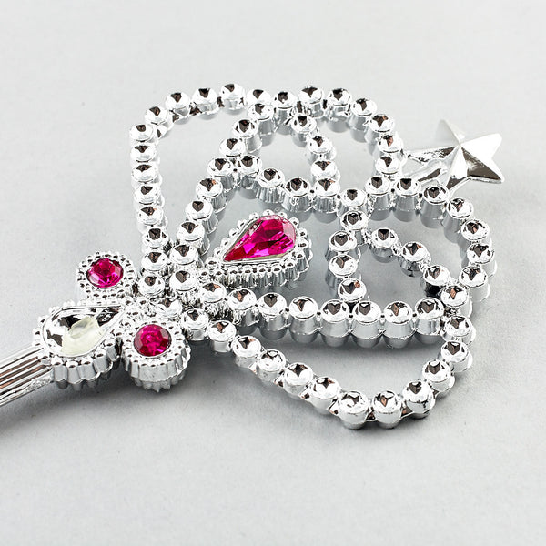 Wand Silver with Pink Jewels