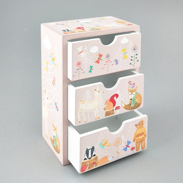 Wooden Drawers - * NEW * 3 Drawer Chest Woodand Animals - Floss and Rock