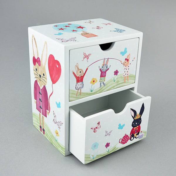 Wooden Drawers - * NEW * 2 Drawer Bunny Rabbit - Floss and Rock