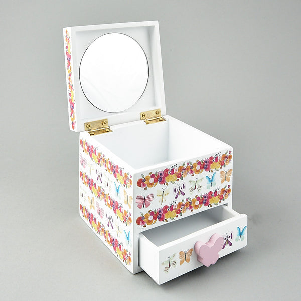 1 Drawer Trinket Box with Mirror Butterfly
