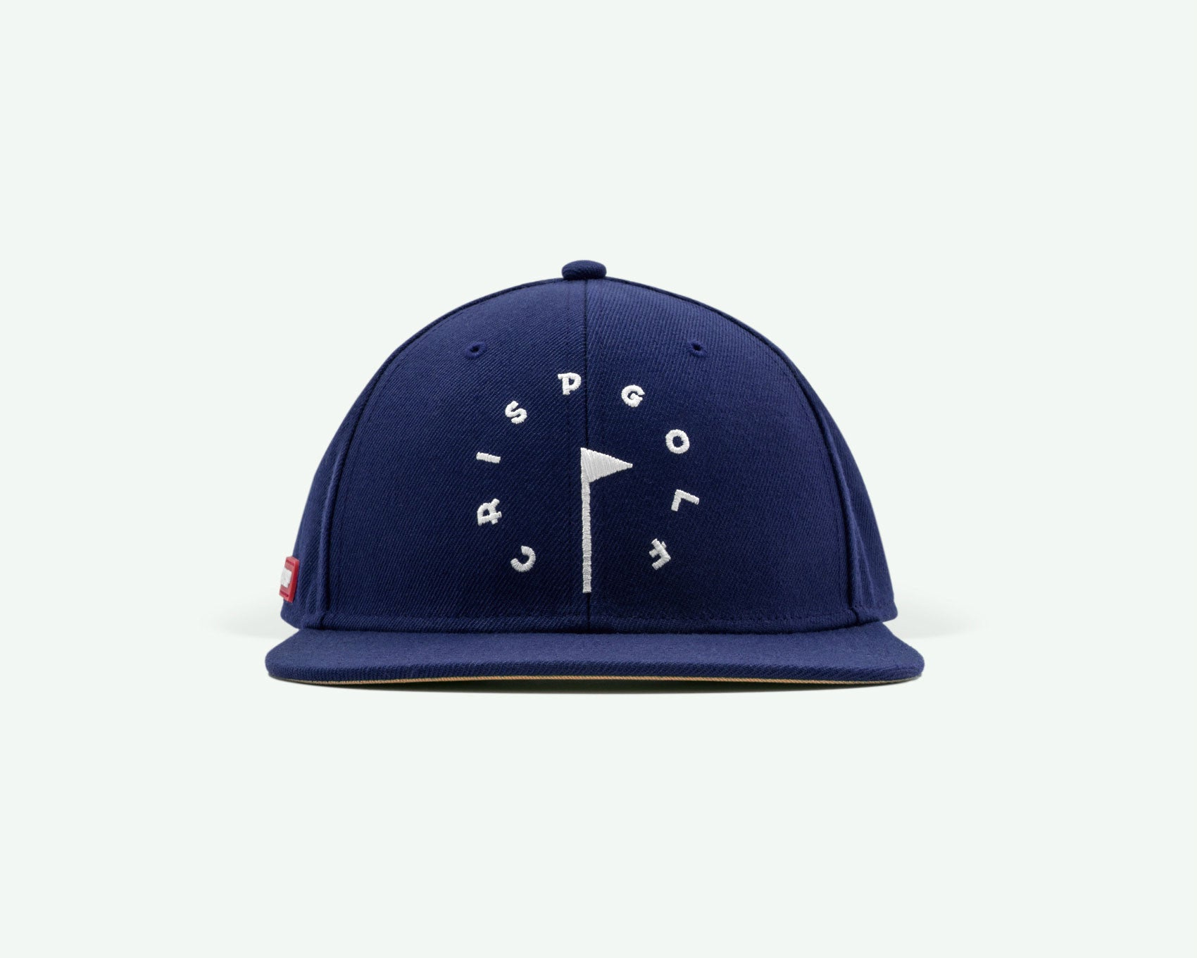 101 series navy blue coloured structured 6-panel golf cap with premium wool blend fabric, leather strap and branded white buckle.