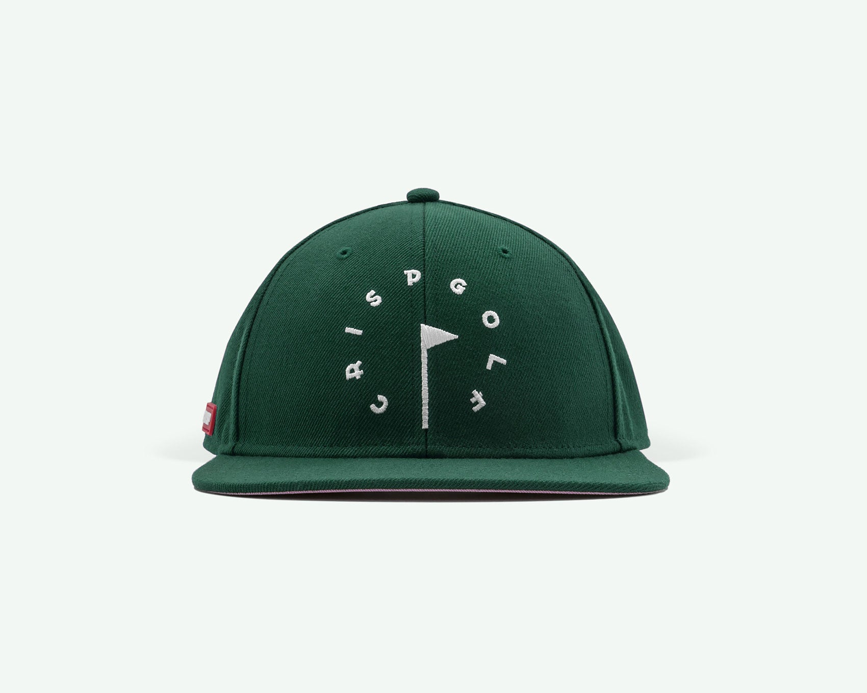 101 series burgundy racing green, structured 6-panel golf cap with premium wool blend fabric, leather strap and branded white buckle.