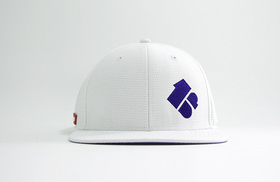 102 1up series white structured 6-panel golf cap with lightweight 'cool pass' mesh fabric and Velcro closure