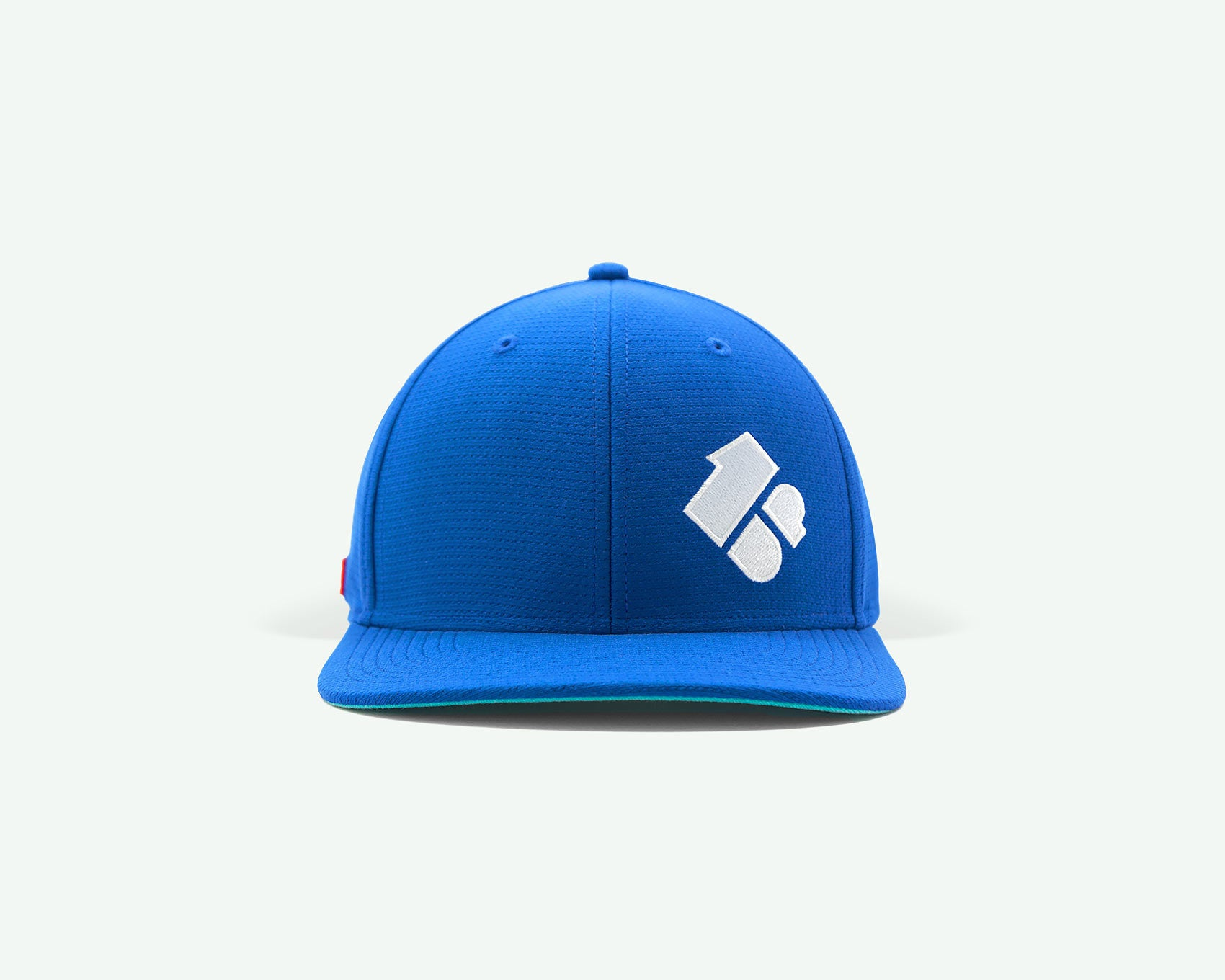 102 1up series blue structured 6-panel golf cap with lightweight 'cool pass' mesh fabric and Velcro closure