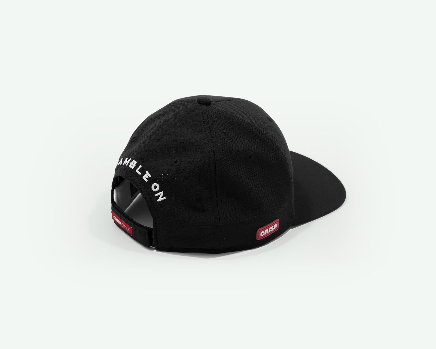 102 1up series black structured 6-panel golf cap with lightweight 'cool pass' mesh fabric and Velcro closure