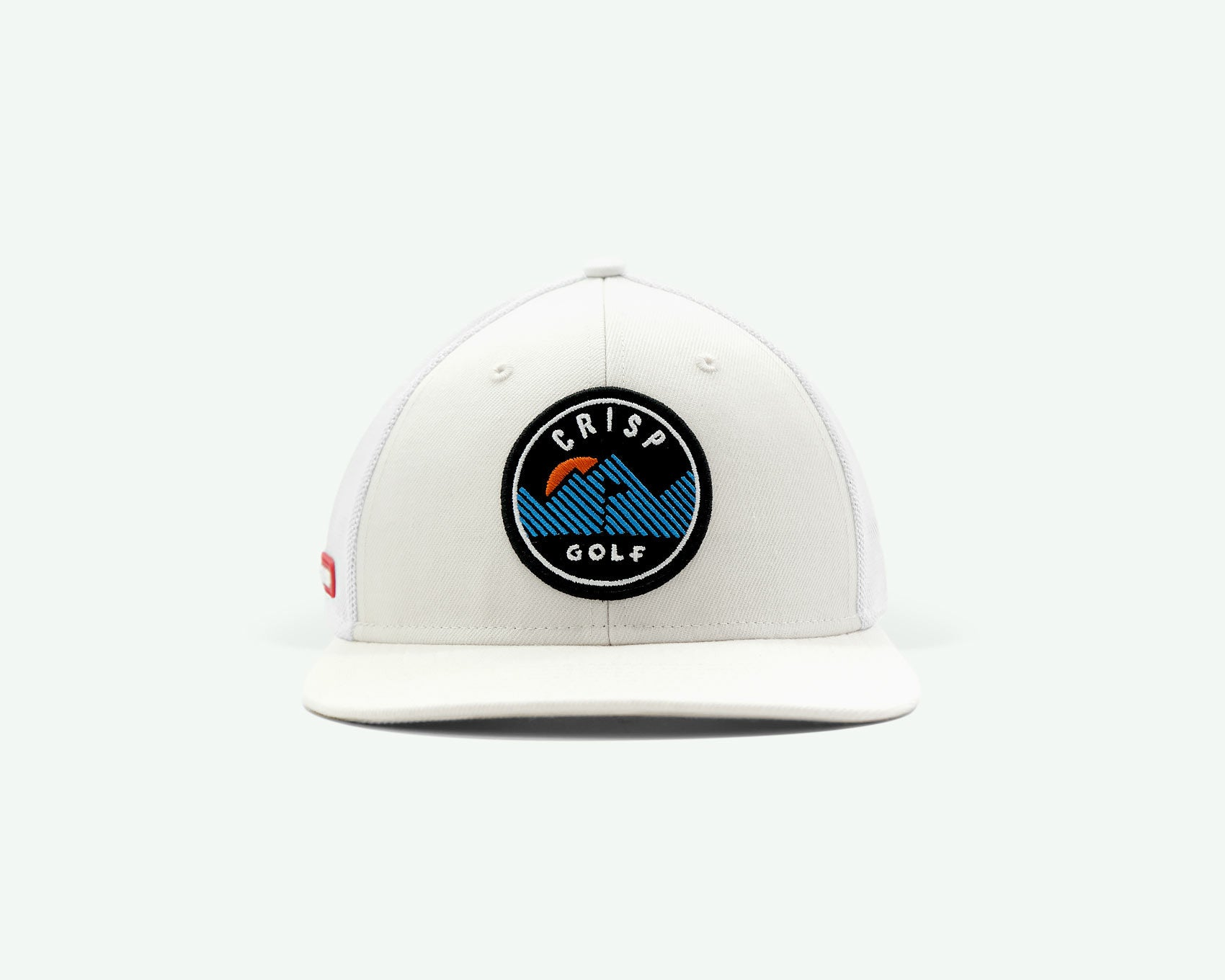 103 series off white structured 6-panel golf cap with a wool blend crown, fine mesh side/back panels, a plastic closure and an embroidery patch mountain logo