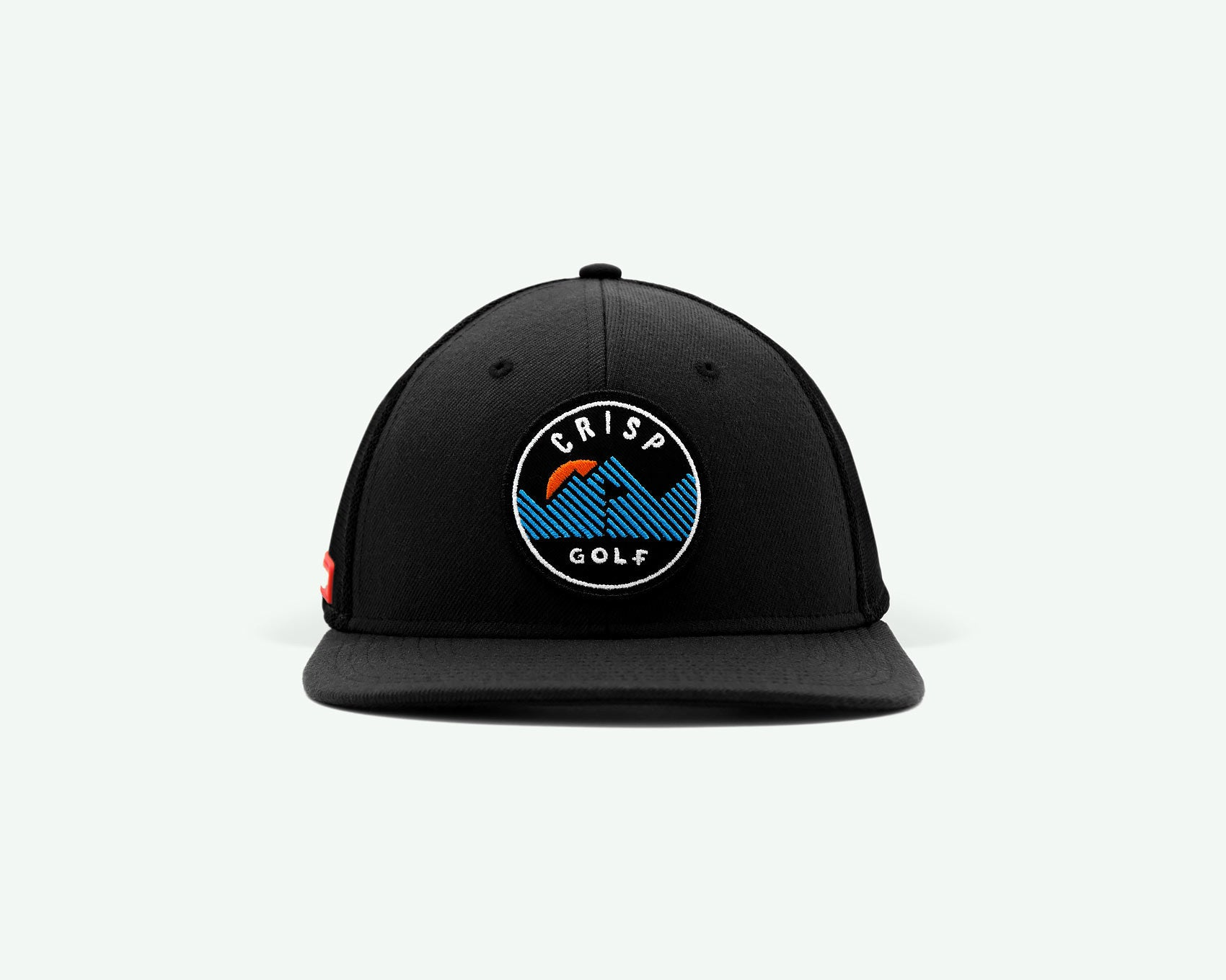 103 series black structured 6-panel golf cap with a wool blend crown, fine mesh side/back panels, a plastic closure and an embroidery patch and mountain logo