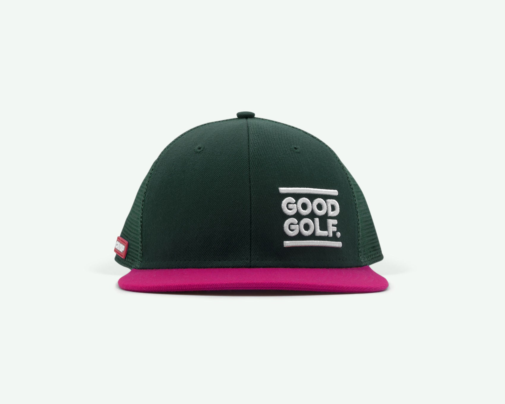 104 series green/pink structured two-tone 6-panel golf cap with a wool brush cotton crown, trucker mesh side/back panels and plastic closure