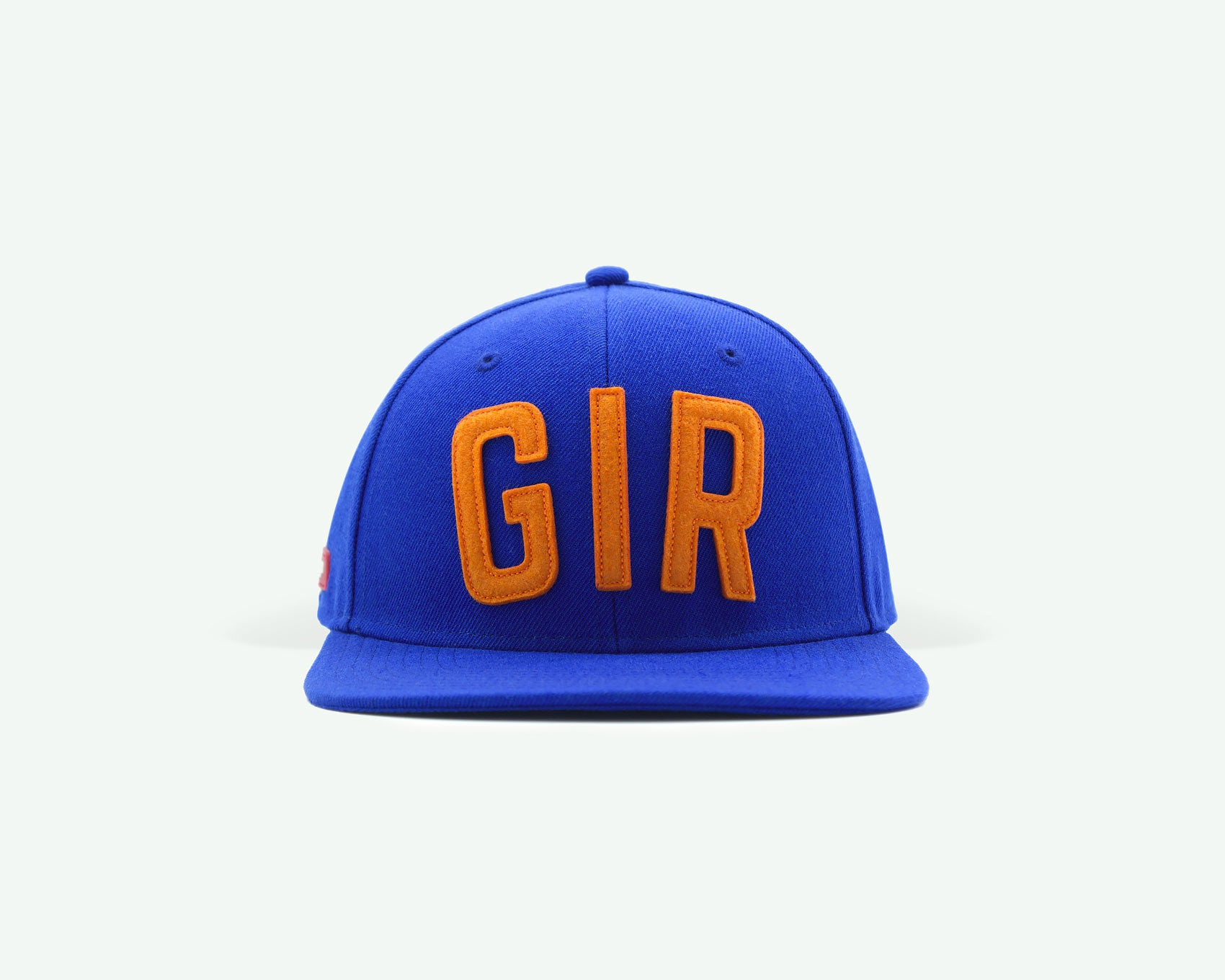 "107 ""GIR"" series blue orange coloured structured wool blend 6-panel golf caps"